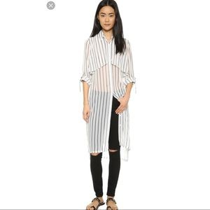 J.O.A. Striped Trench Coat Shirt Dress